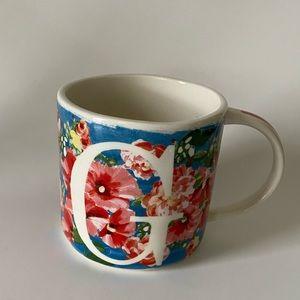 NIP Anthropologie Home Dawn Monogram Mug Initial G